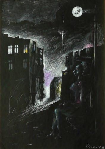 SCHWARZE FRAU IN SCHWARZER NACHT, 42x30, Farbstift auf schwarzem Papier, 2008