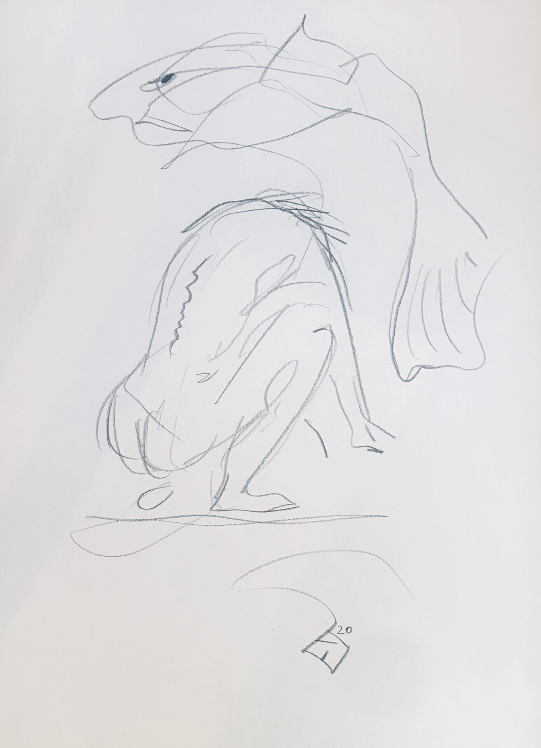 ZWEI NACKTE, 42x30, Bleistift, 2020
