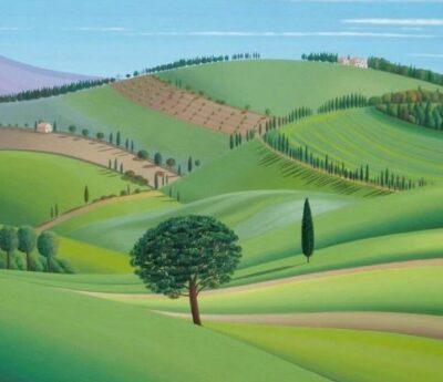 Hügellandschaft, 100cm x 100cm, Fine-Art-Print auf Leinwand - 950 €
