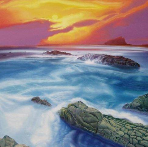 Tramonto al mare, 100cm x 100cm, Fine-Art-Print auf Leinwand - 1250 €